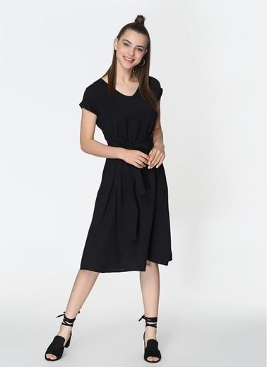 Loves You Cupra A Form Düşük Kol Elbise Siyah